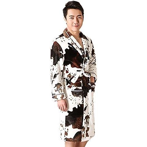 DMMSS Camisón de terciopelo Coral de los hombres en pijama larga franela albornoces más gruesa ropa hogar Yukata , 170