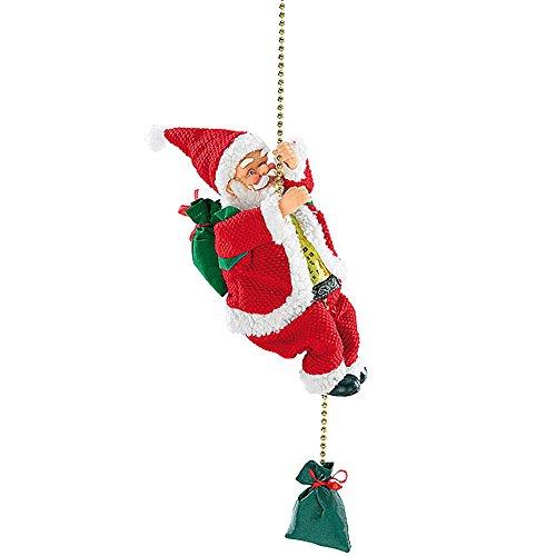 Mostromania - babbo natale animato con fune ed effetto sonoro - decorazione natalizia animata - addobbi di natale per la casa - regali di natale