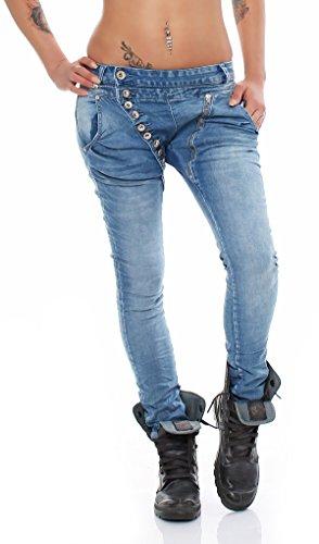 SKUTARI Luxuriöse Designer Denim Stretch Röhren Jeans Haremshose boyfriend lange Knopfleiste langer Reissverschluss (Farbe Washed Blue, Größe XL)