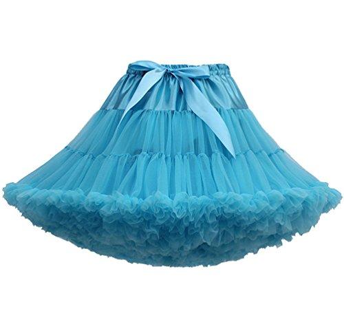 (Tütü Damen Tüllrock Mädchen Ballet Tutu Rock Petticoat Unterrock Ballett Kostüm Tüll Röcke Festliche Tütüs Erwachsene Pettiskirt Ballerina Petticoat Für Dirndl Ballettrock Pfauen Blau)
