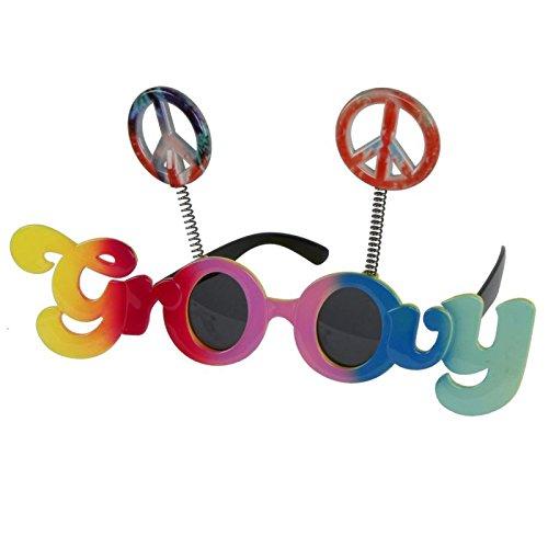 Annastore Partybrille Groovy & Peace Faschingsbrille Hippybrille Gagbrille Scherzbrille