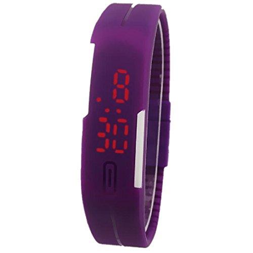 Unisex Fashion pulsera pantalla táctil LED Digital relojes mujeres reloj de pulsera morado