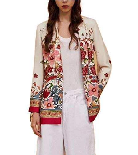 Belted Cotton Blazer (CuteRose Womens Longline Open-Front Classy Blazer Floral Tribal Belted Suit White M)