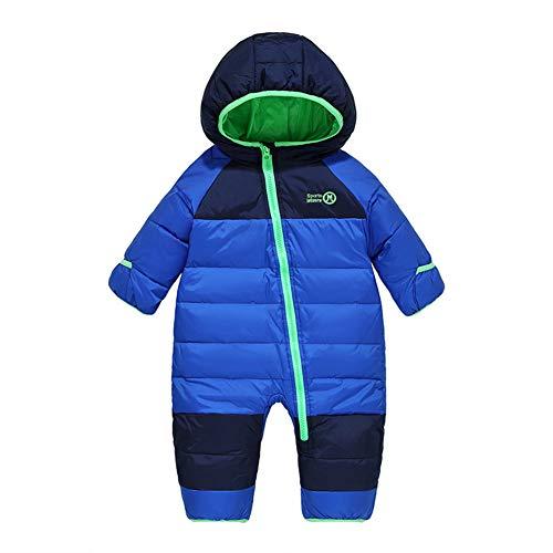 LSERVER Kinder Daunenjacke Overall Säuglingskind Kleidung Fußmanschetten können eingewickelt Werden, Blau, 104/110(Fabrikgröße: 110)
