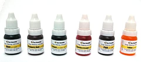 Bee Beautiful 6 X 10ml Cosmetic Colours Blue, Cranberry Red, Green, Sunshine Orange, Pink and