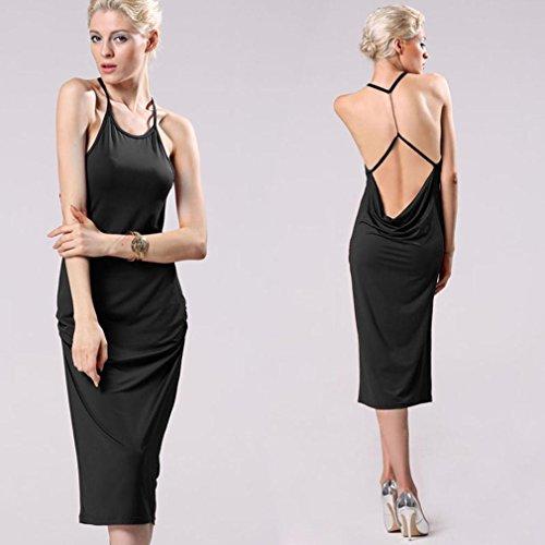 ZEARO Sexy Damen Ärmellos Rückenfrei Bodycon Cocktailkleid Abendkleid Partykleid Midikleid Ballkleid Sommerkleid Schwarz