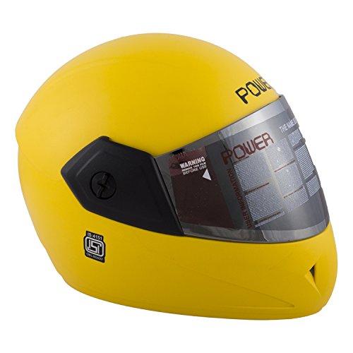 Autofy Power Full Face Helmet With Mirror Finish Visor (Matte Bright Yellow)