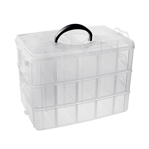 RKPM 3-Layer Transparent Plastic Organizer Storage Box/Basket/Container With Collapsible And Removable Dividers(31 X 19 X 24Cm)(White)