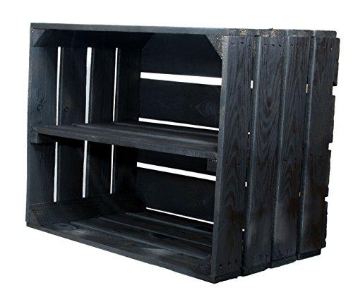 2er Set Schwarze Kiste mit Mittelbrett'längst' - Kistenregal Regalkiste Schukiste Schuhregal...