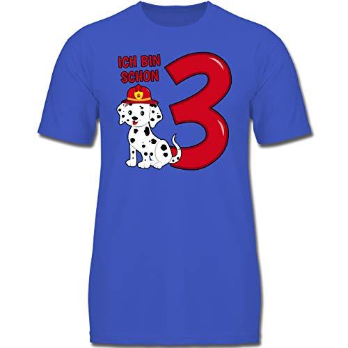 Geburtstag Kind - Ich Bin Schon 3 Feuerwehr Hund - 104 (3-4 Jahre) - Royalblau - F130K - Jungen Kinder T-Shirt (Welpe Ein Bin Kleiner Ich)