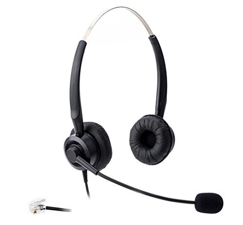 Audicom H201CSB Binaural Call Center Headset headphone with Mic for Cisco Unified Telephone IP Phones 7931G 7940 7941 7942 7945 7960 7961 7962 7965 7970 and Plantronics M10 MX10 Vista Modular Adapters -