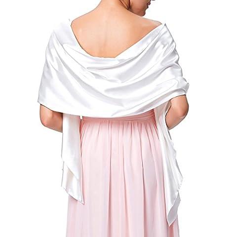 Femme Écharpe/Châle/Étole/Foulard Elégante pour Mariage Blanc 183cm×43cm KK216-2