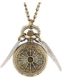 Harry Potter boccino d' oro bronzo retro orologio da tasca, forma a sfera con ali collana quarzo Orologio da tasca, regalo per uomini (bronze)