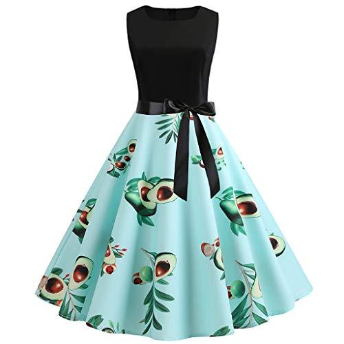 Momoxi Kleid,Damen Frauen Vintage 50er Jahre Retro ärmellose O Neck Print Abend Party Prom Swing Dress (Damen 50er Jahre Pullover)