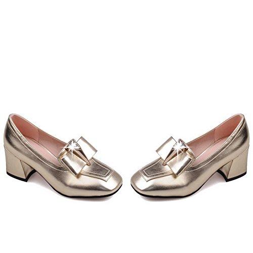 VogueZone009 Damen Ziehen Auf Pu Leder Quadratisch Zehe Mittler Absatz Rein Pumps Schuhe Golden