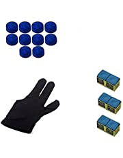 LGB Snooker & Pool Combo, 1 Piece Glove, 6 Pieces Chalk and 10 Pieces Leather Cue Tip (9mm)