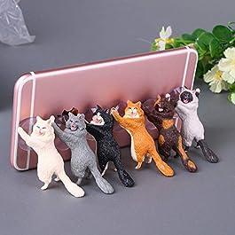 MUROAD 6 Pezzi Universale Supporto del Telefono, Supporto Porta Cellulare a Forma di novità, Supporti per Cellulari per Tablet e Smartphone,Titolare del Telefono a Forma di Gatto