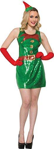 Onlyglobal Erwachsene Damen Paillette Elfen Kleid Santa's Helfer Weihnachten Ausgefallen Party Kostüm - Grün, XS/S (UK Size 8-10)
