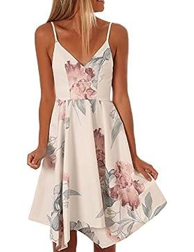 Vestidos mujeres Sling V collar elegante falda asimétrica imprimir Sexy falda corta