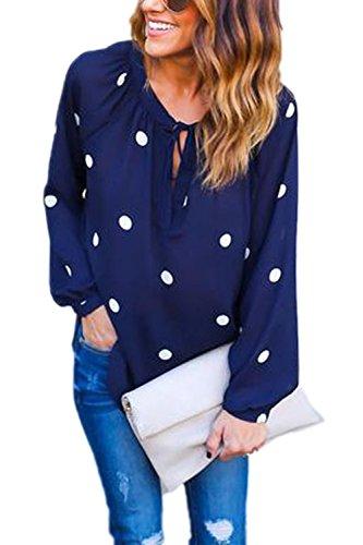 Les Femmes Les Cou Chemisier À Pois Manches Longues En Mousseline Cycle Haut De Tee Shirt Blue L