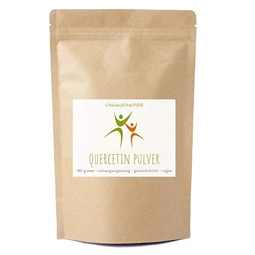 Quercetin Pulver - 180 g - Antioxidans - aus den Blüten des japanischen Schnurbaumes gewonnen - schonende Zubereitung - gentechnikfrei - 100% vegan, glutenfrei - OHNE Hilfs- u. Zusatzstoffe