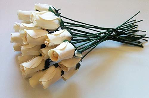 24schöne Realistische Ivory weiß Holz Rosen von Aariel 's Attic