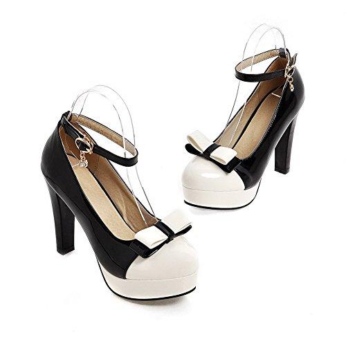 AgooLar Femme Rond à Talon Haut Verni Couleurs Mélangées Boucle Chaussures Légeres Noir