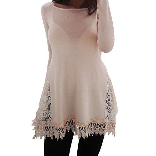 Daoroka Damen Langarmshirt mit Spitze, geteilt, für Herbstbluse - schwarz - Klein (Sweatpant-sets Womens)