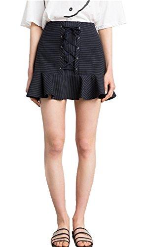 Sexy Hohe Taille Schnürung Schnürschuh Vorne Rüschensaum Mini A Linien A Linie Ausgestellte Flippy Mermaid Skirt Rock Gestreift Gestreiftes Gestreift Gestreiftes