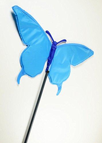 Carillon papillon Swing Turquoise 2 m, largeur x hauteur : 40 x 21 cm,/plastique tige télescopique, télescopique, pour le jardin