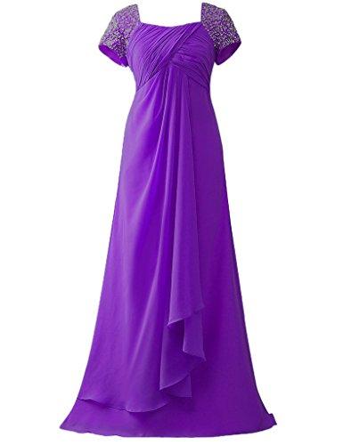 HUINI Cap Sleeves Perline Lungo Chiffon Ballo di fine anno Abiti da cerimonia Madre della sposa abiti Viola