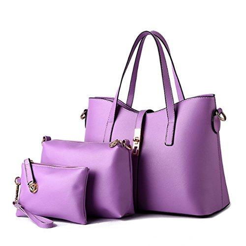 Un insieme di tre pezzi Womens Fashion Borsa in pelle sintetica borsa da viaggio borsa a tracolla Hot Travel Bag Viola