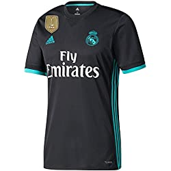 Real Madrid Away camiseta 2017 2018 incl libre Club Copa del Mundo parche, hombre, negro