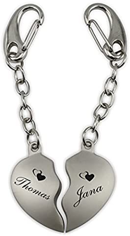 Sehr Schönes Herz Schlüsselanhänger Set (Silber) mit Wunsch Laser Gravur