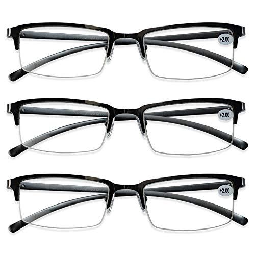 KOOSUFA Lesebrille Herren Damen Metall Halbrahmen Brille Halbrandbrille Lesehilfe Sehhilfe Federscharnier Vintage Arbeitsplatzbrille Schwarz Grau 1.0 1.5 2.0 2.5 3.0 3.5 4.0 (3x Grau, 1.0)