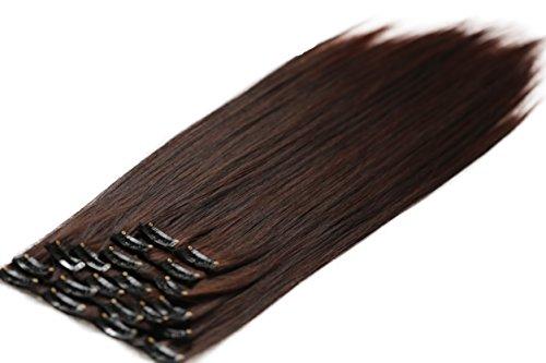 PRETTYSHOP XXL 60cm 8 teiliges SET Clip In Extensions Haarverlängerung Haarteil hitzebeständig glatt dunkelbraun mix 2T33 CES23