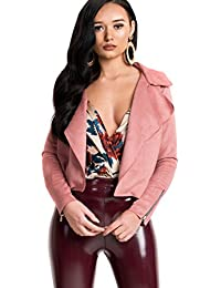 Ikrush Womens Camilla Faux Suede Waterfall Jacket