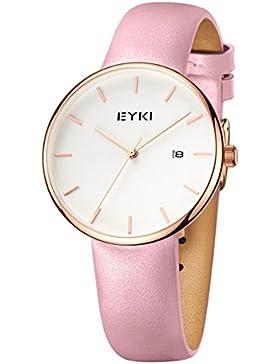 Alienwork Quarz Armbanduhr Ultra-flach Uhr Damen Uhren Mädchen Zeitloses Design Leder weiss pink YH.E1056S-02