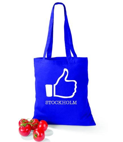 Artdiktat Baumwolltasche I like Stockholm Bright Royal