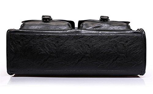 Xinmaoyuan uomini borsette borsette in cuoio Casual Men Bag Borsa Borsa retrò,Nero Nero