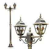 Kandelaber Wegeleuchte Antibes, Retro Außenbeleuchtung 2-flammig, Außenstehleuchte aus Aluguss in Braun-Gold, Stehleuchte LED-fähig im Vintage-Design, Laterne 225cm hoch, E27-Fassung max. 60 Watt