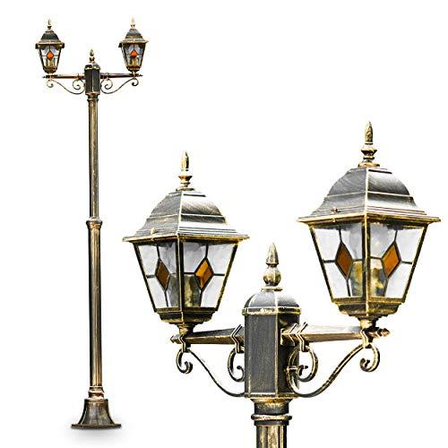 Außenleuchte Antibes, Kandelaber in antikem Look, Aluguß in Braun/Gold mit Klarglas-Scheiben, 2-armige Wegeleuchte 225 cm, 2 x E27-Fassung, je max. 60 Watt, Retro/Vintage Gartenlampe IP44 -