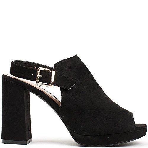 Ideal Shoes Sandales Effet Daim à Talon Épais et Bride à LArrière Violine Noir