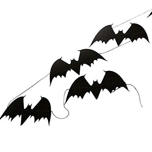 (KOBWA Halloween Banner Quasten Set, Schwarz Happy Halloween Banner Halloween Dekorationen Tür Abdeckung Garten Dekorationen)