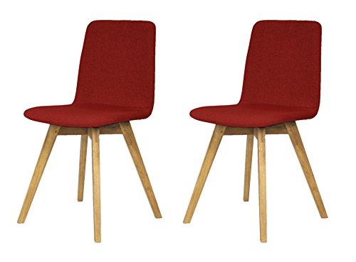 Tenzo 3371-228 Tequila 2-er set Designer Stühle Mia, 83 x 44 x 50 cm, rot / eiche -