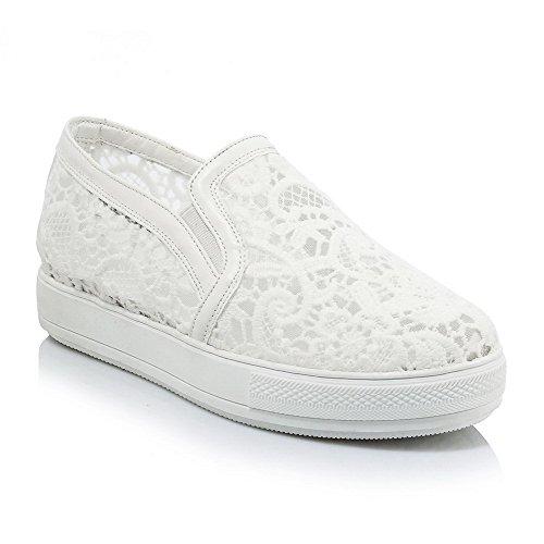 VogueZone009 Femme Rond Fermeture D'Orteil à Talon Bas Couleur Unie Tire Chaussures Légeres Blanc