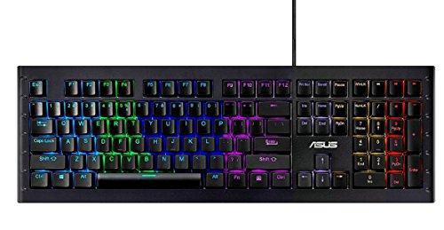 Asus Sagaris GK1100 Tastiera Meccanica RGB Gaming, Multimediale e programmabile, con Telaio in alluminio e Switch Cherry MX BLUE [Layout Italiano]