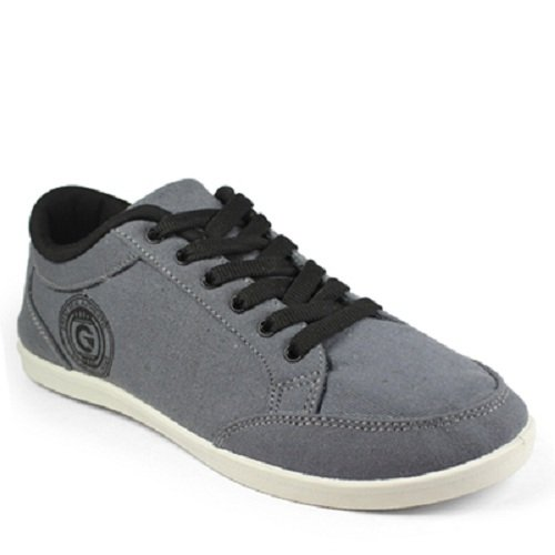 Globalite Men's Dark Grey PU canvas shoes -UK 7 (GSC0443)  available at amazon for Rs.299