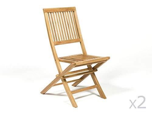 Chaise de Jardin Pliante en Teck Marron (x2)