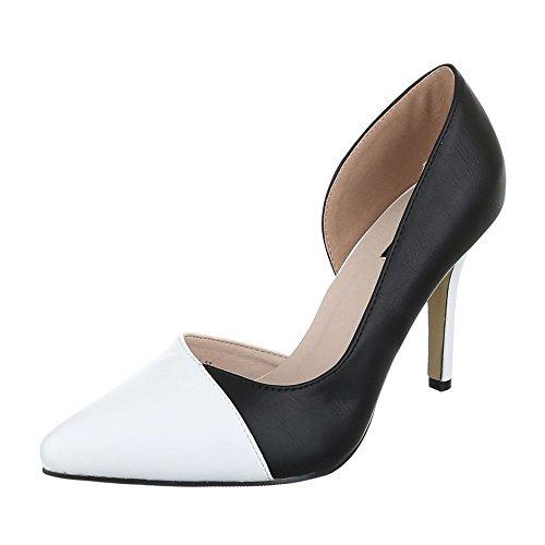 Ital-Design - Scarpe con plateau Donna Nero/Bianco